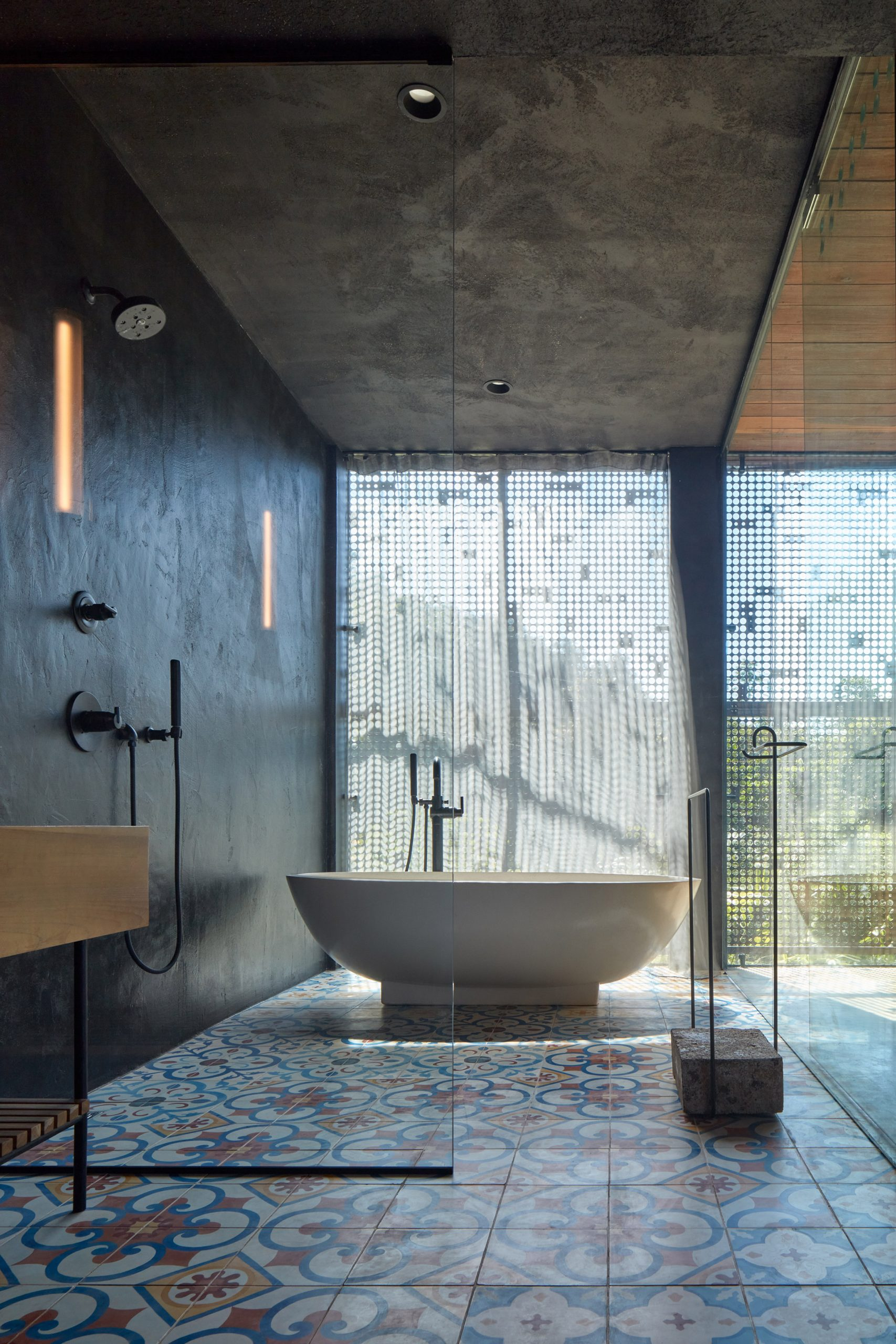 Bath room with colourful cement tiles from Nicaragua