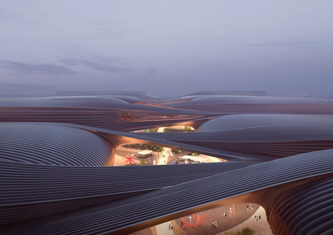 The striped roof of a Chinese exhibition centre