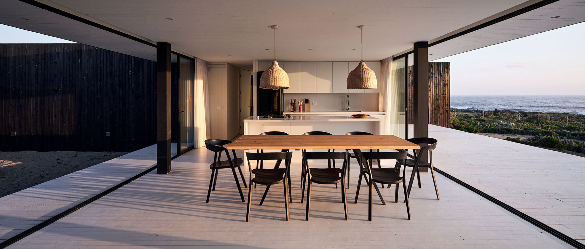 Kitchen diner of seaside house in Chile