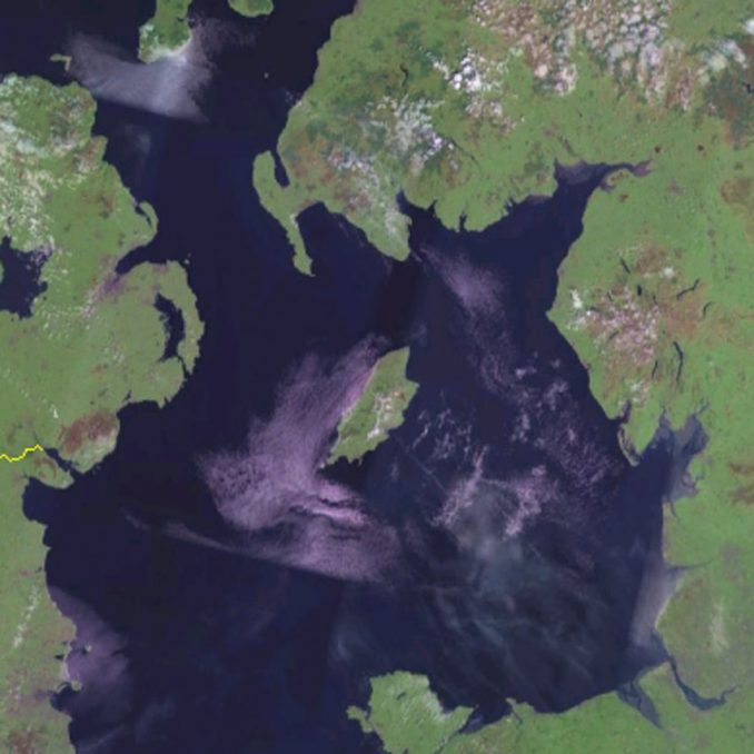 A satellite image of the Isle of Man