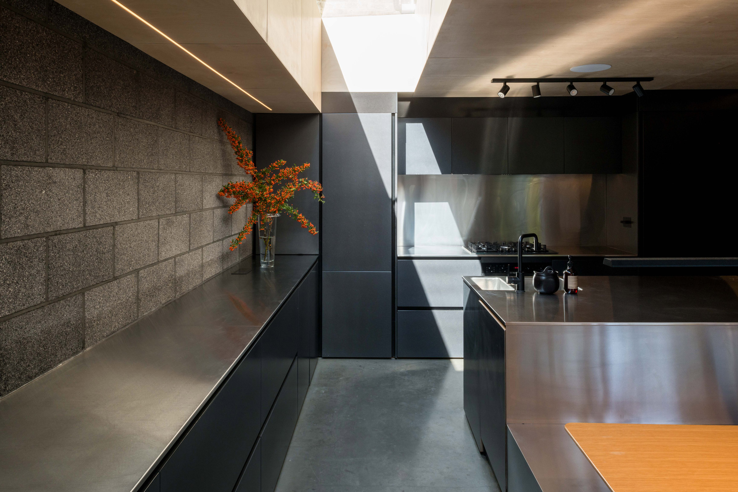Stainless steel kitchen of Hansler Road house extension