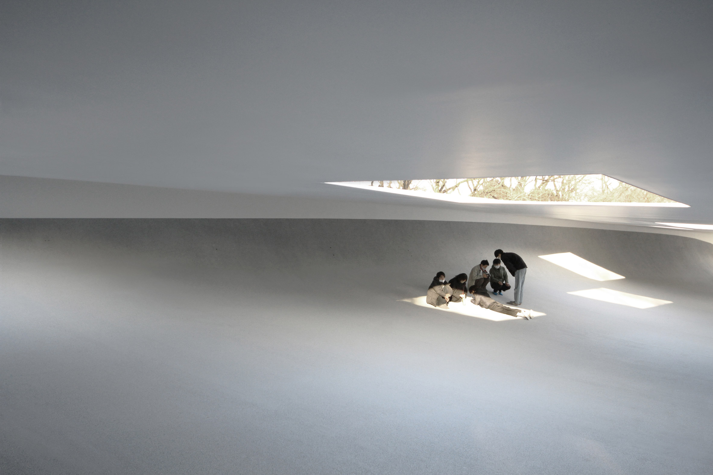 Inside a white-walled student break-out space