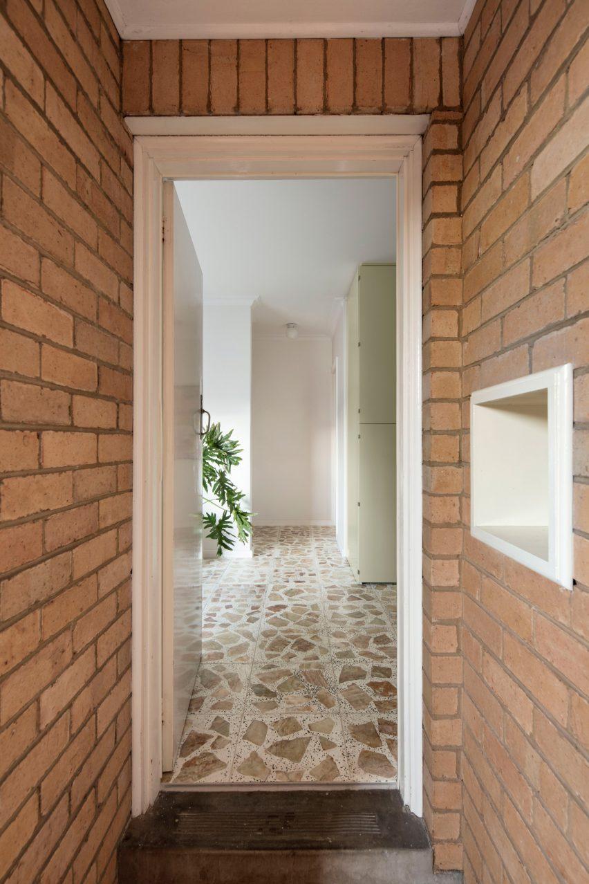 pistachio green kitchen and terrazzo