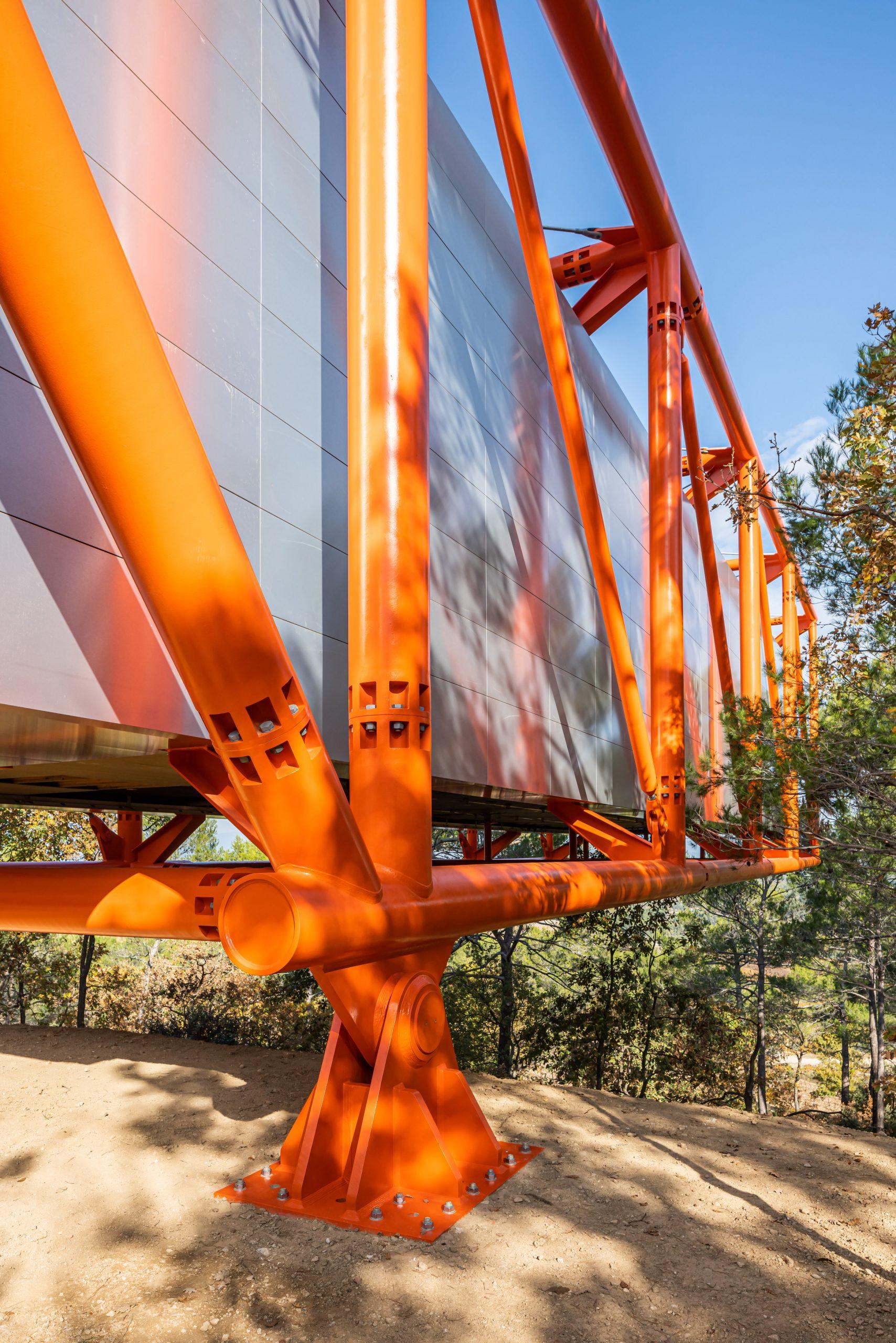 Orange structure of Richard Rogers art gallery
