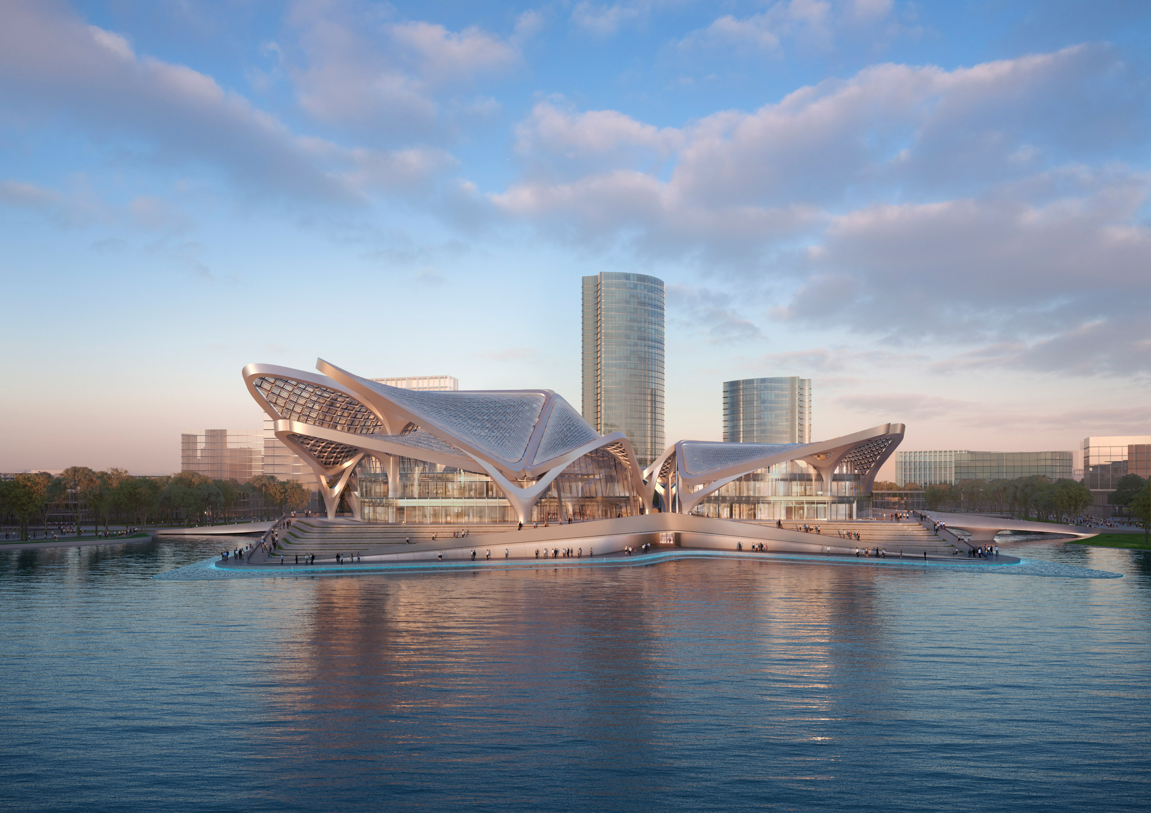 A lakecultural centre by Zaha Hadid Architects in southern China