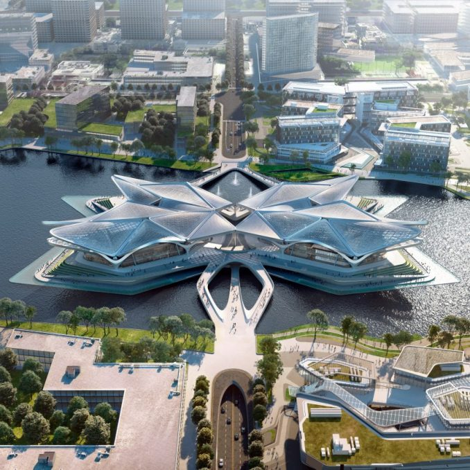 An aerial view of a cultural centre by Zaha Hadid Architects in China