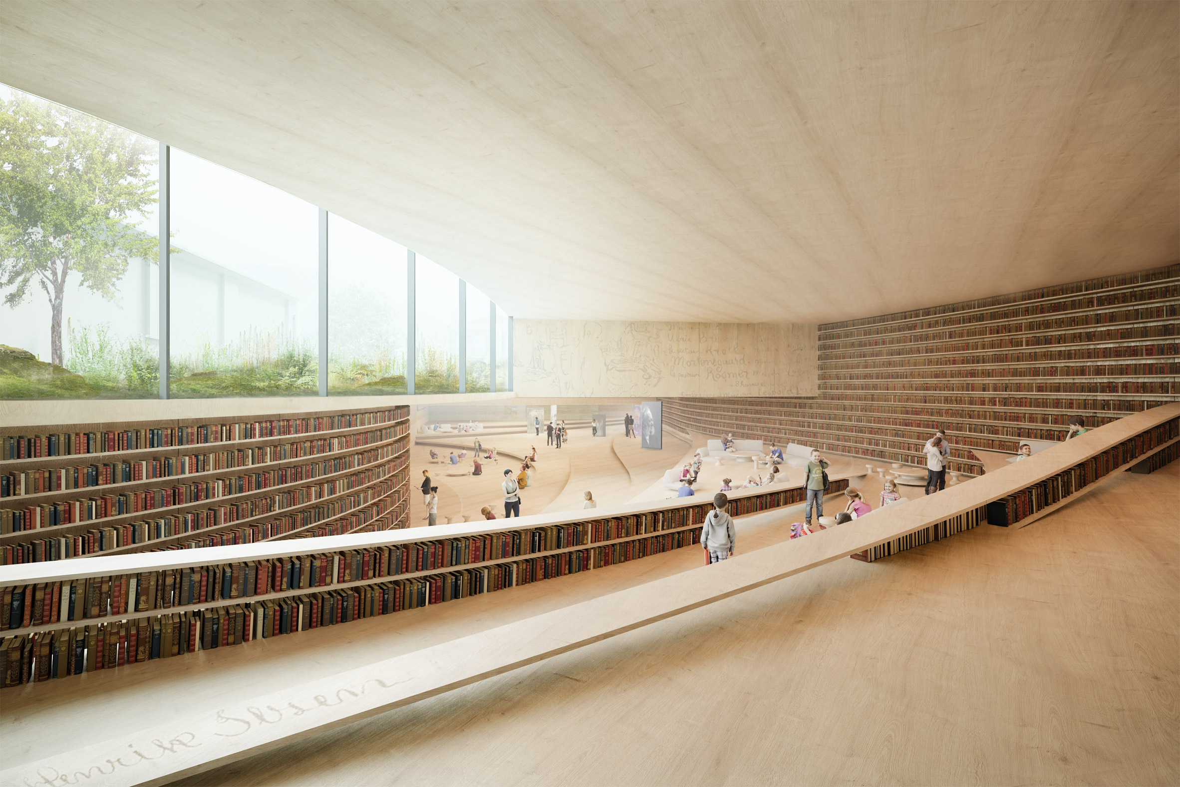 A visual of a stepped, wooden library interior