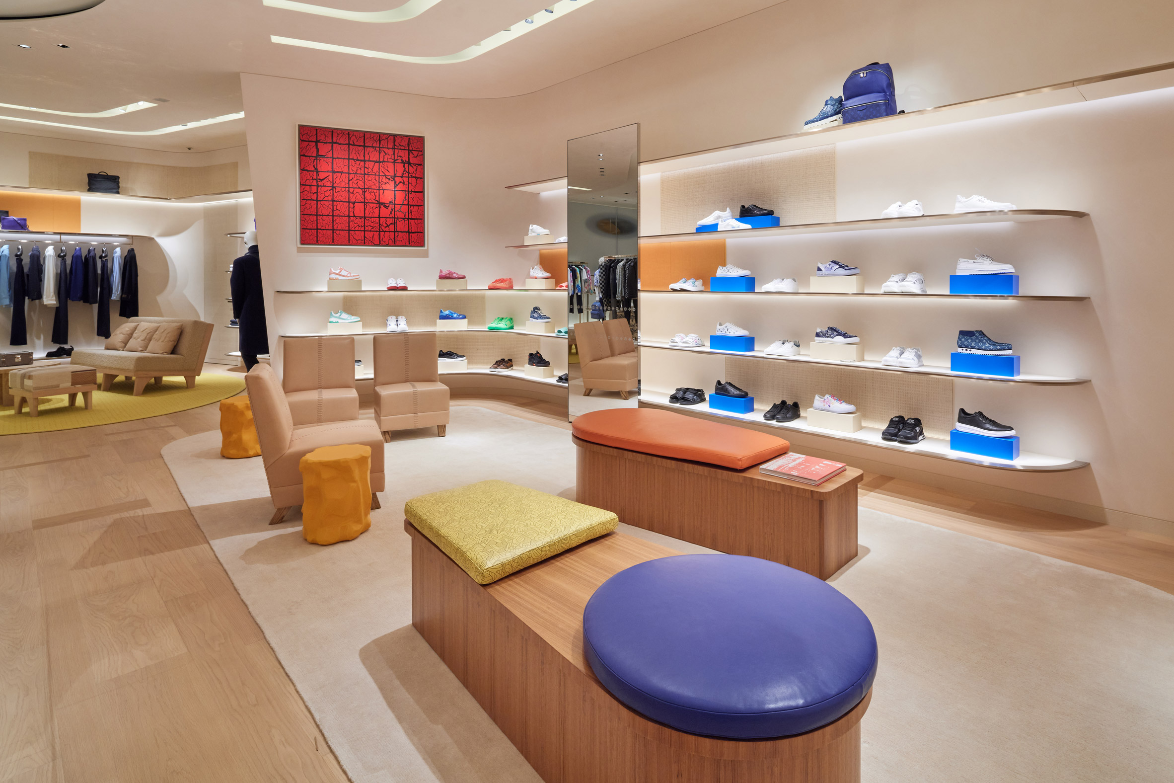 The interiors have colourful furniture