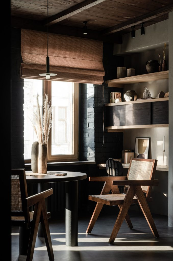 Dining area and built-in storage in Kyiv apartment