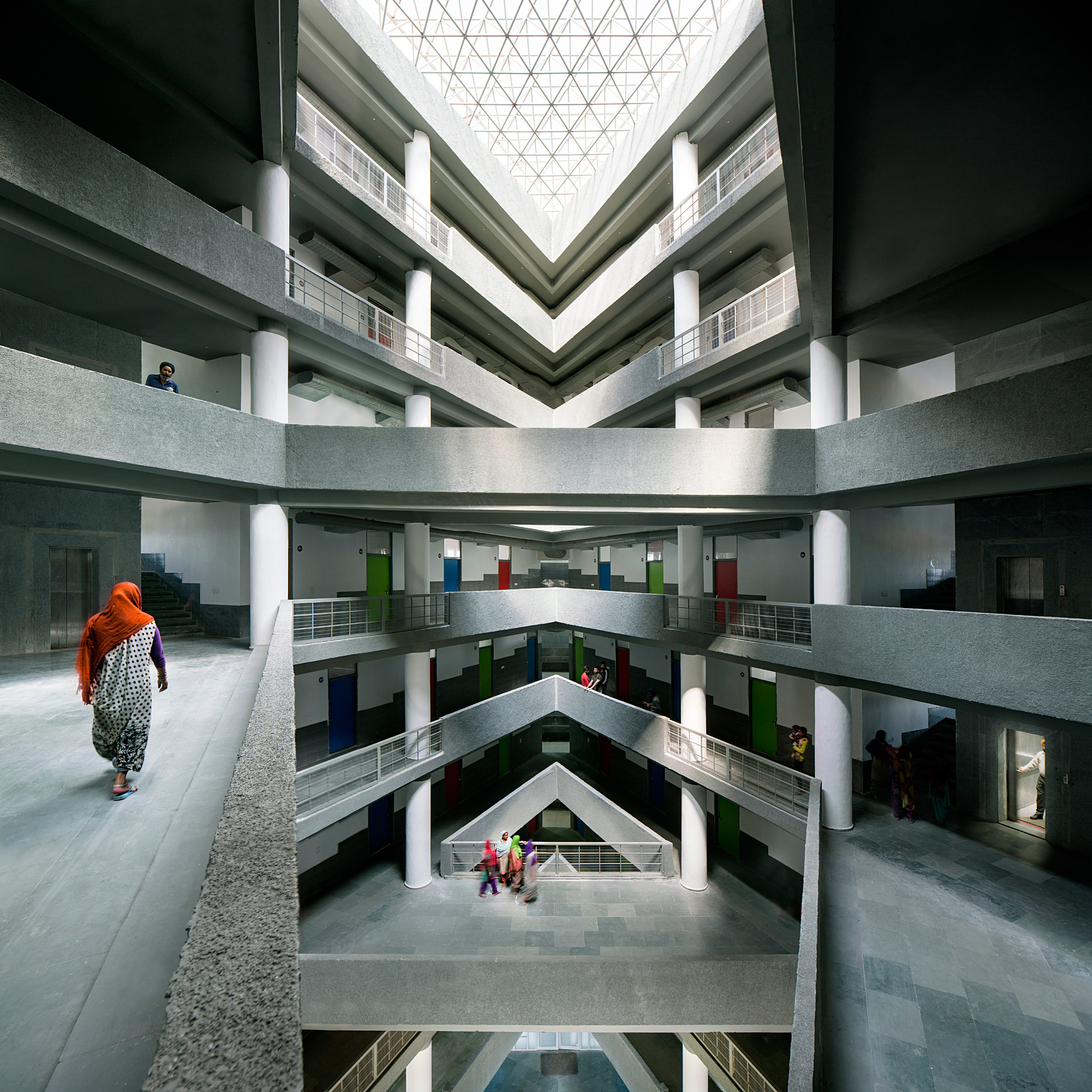A multi-storey atrium with crisscrossing bridges