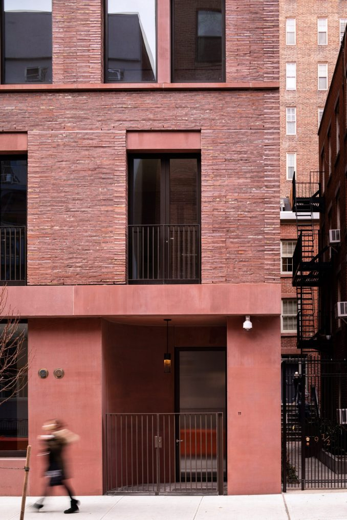Pigmented red concrete of 11-19 Jane Street by David Chipperfield Architects