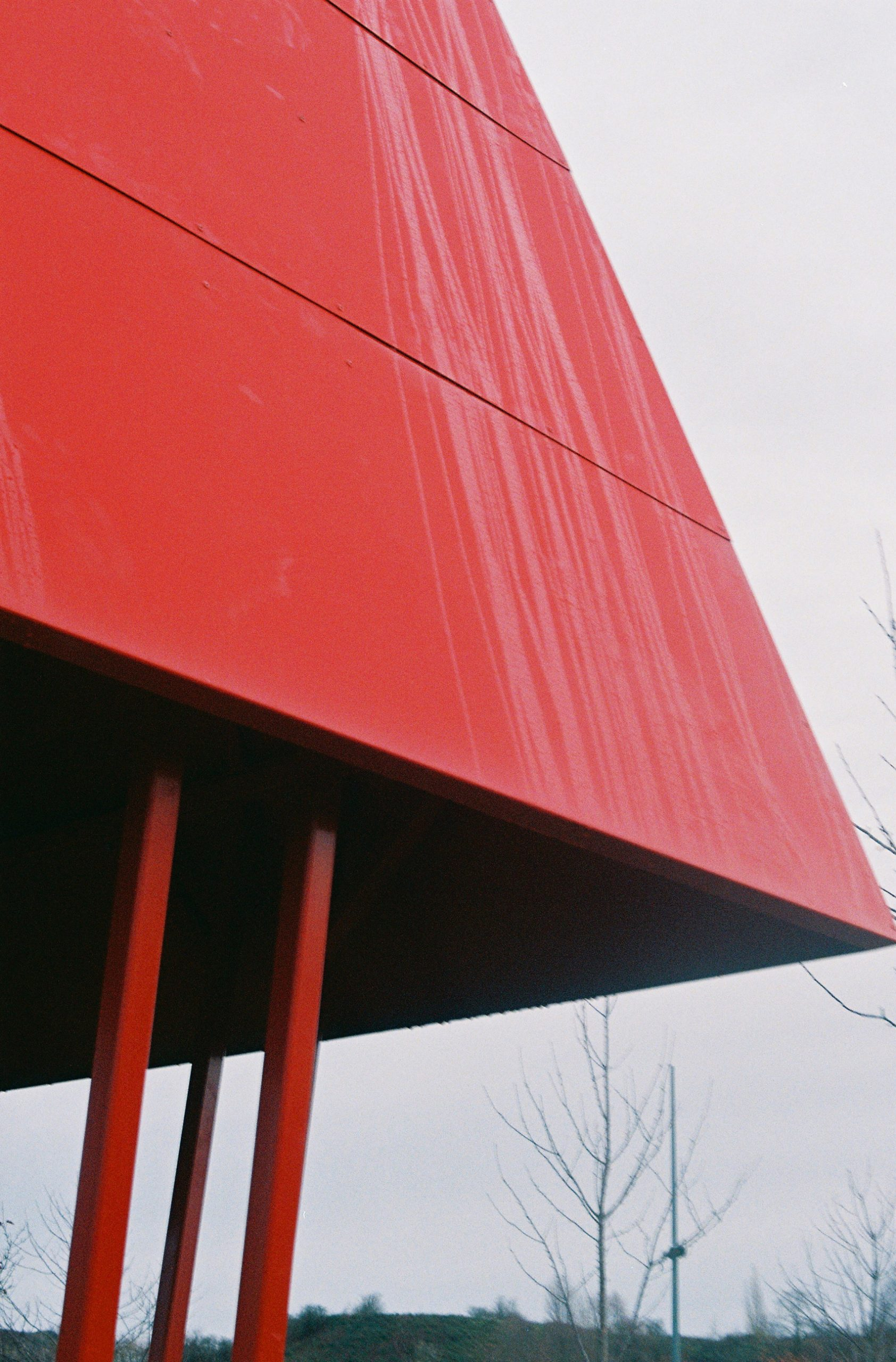 A red steel roof