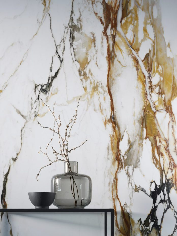 A marble-effect wall covering