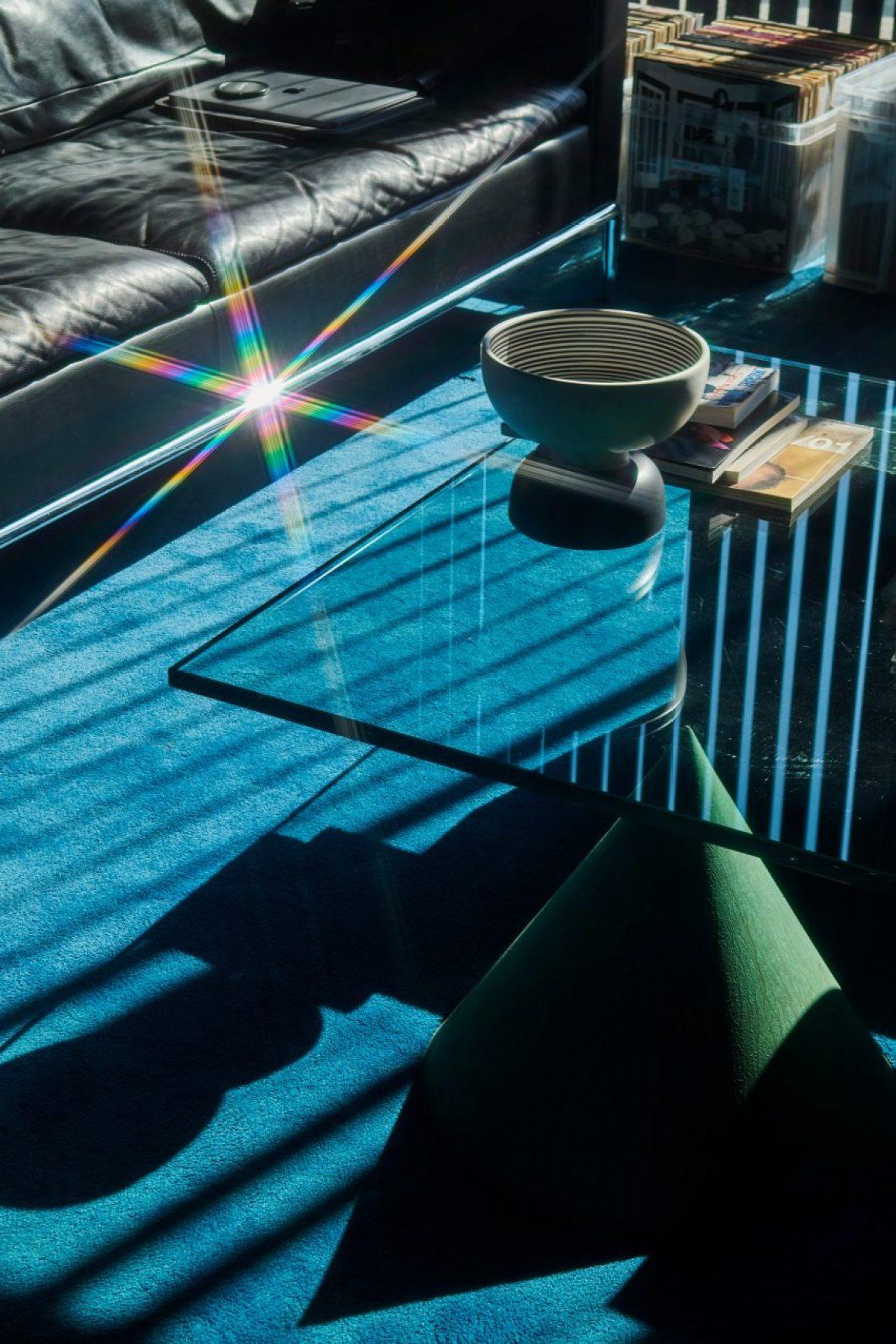 Glass coffee table in Soulwax studio by Glenn Sestig