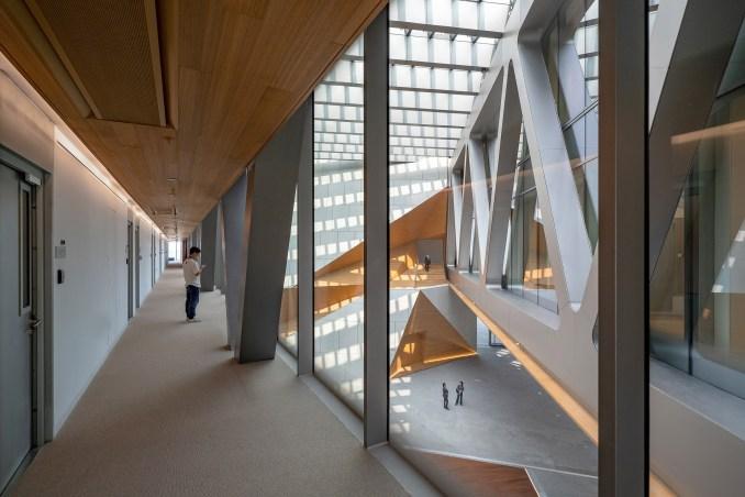 Glass bridges through a lobby