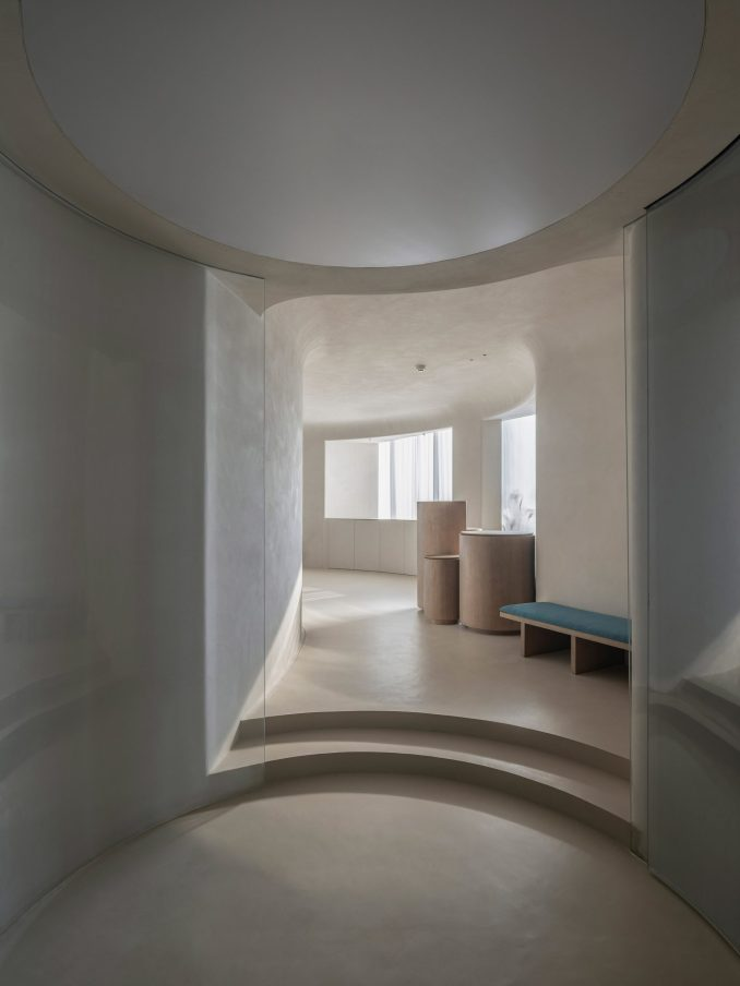 The interior of the Soul Realm Spa has a neutral palette