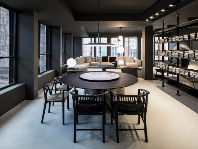 Dining table and screen partition in a London showroom