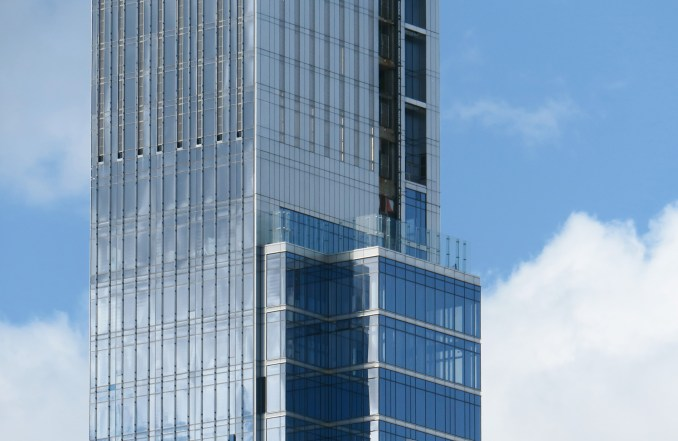 Close up of the side of a supertall skyscraper in New York