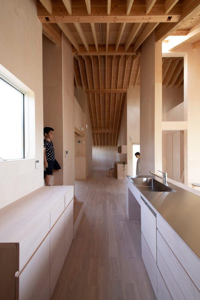 Interiors by Katsutoshi Sasaki have a wood finish