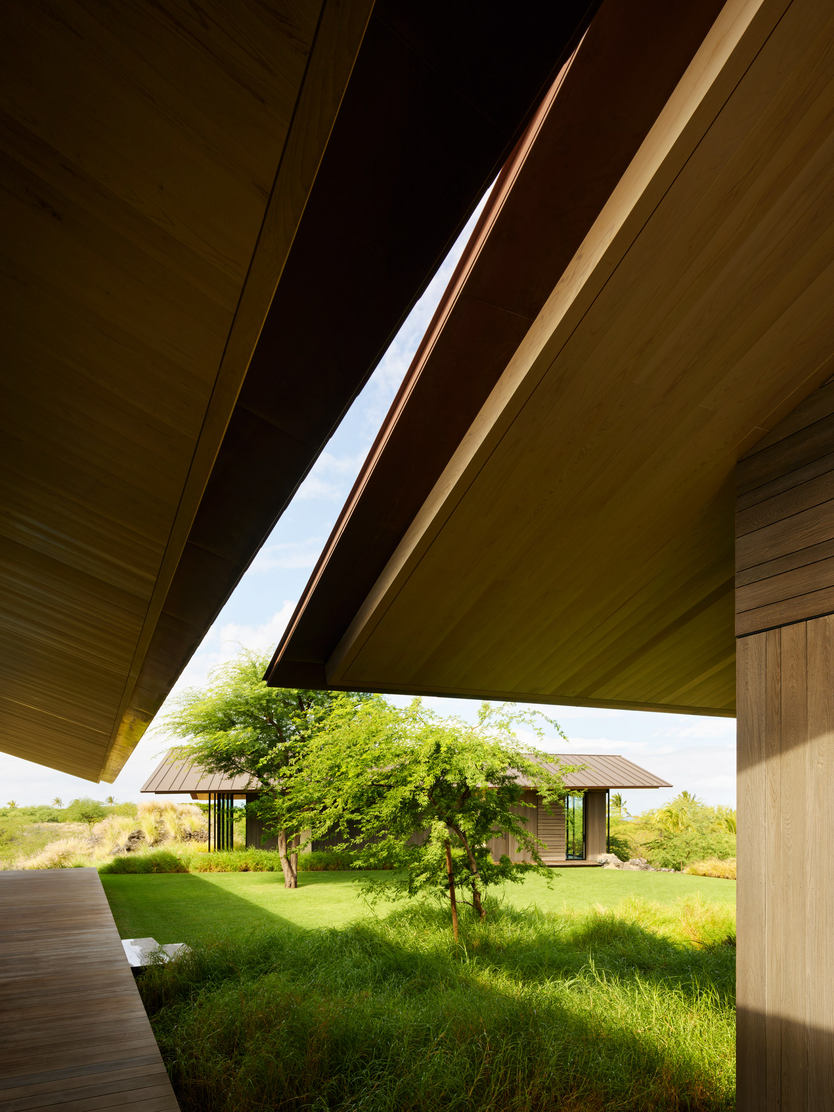 View of Hale Mau'u from under overhanging roofs
