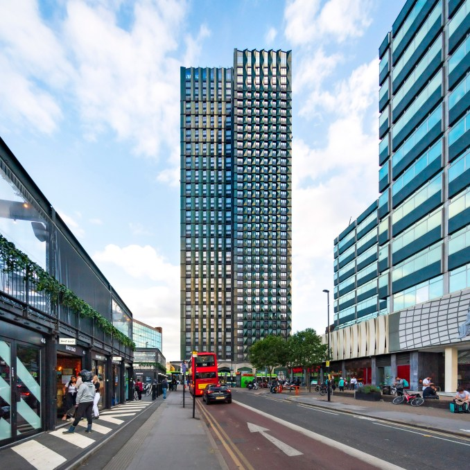 The Ten Degrees towers have a bottle green look