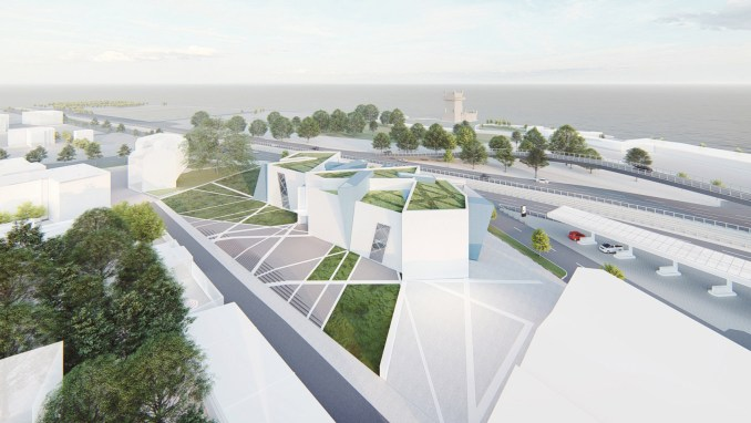 A visual of a white museum with green roofs