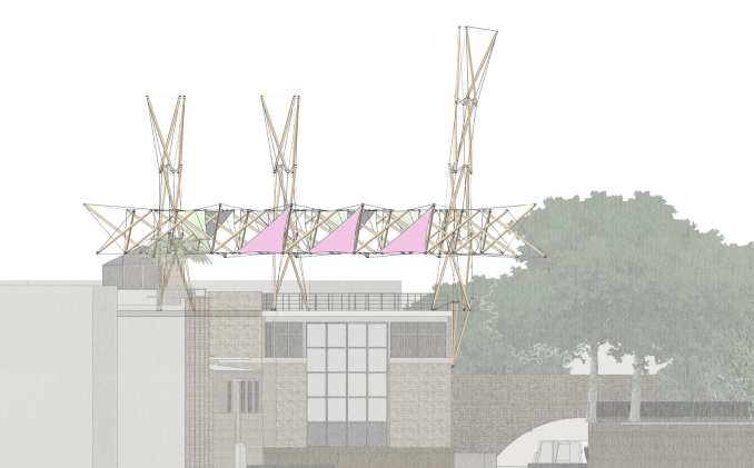 A tensegrity structure on top of Hoxton Docks