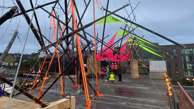 A bamboo tensegrity structure at Hoxton Docks