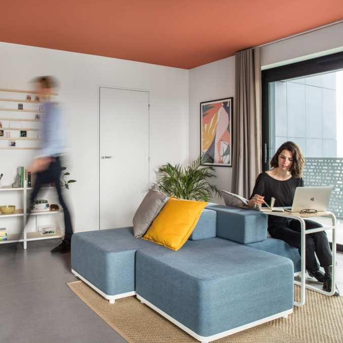 A modular sofa that doubles as a desk