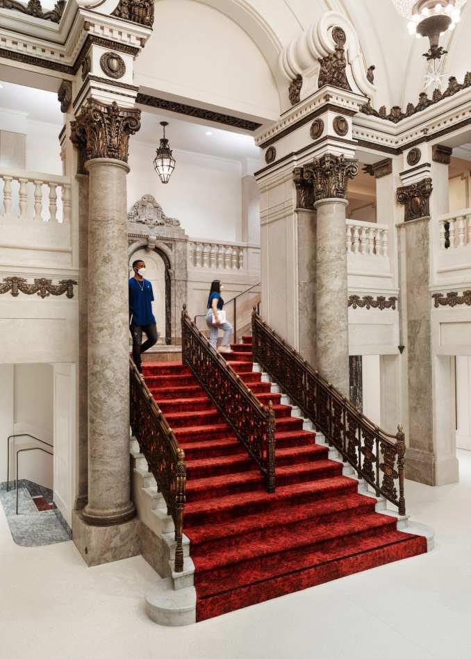 Red carpet and marble columns in the restored Tower Theatre