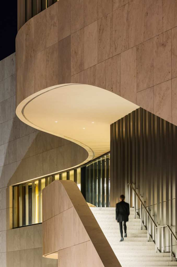 Grand staircase on the exterior of the museum by Weiss/Manfredi