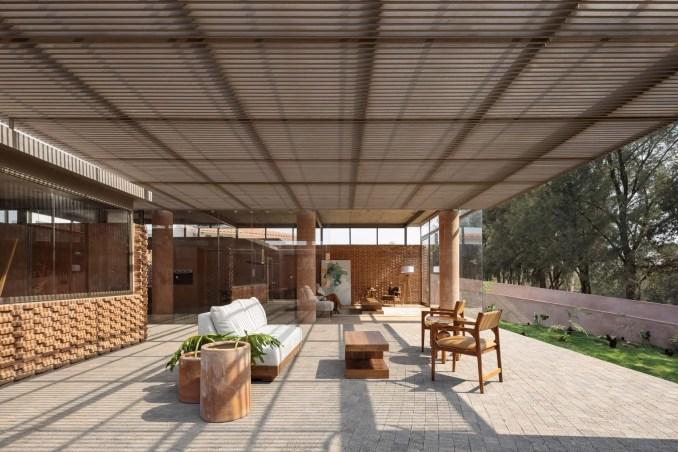 Outdoor/indoor living area of house in Mexico by Daniela Bucio Sistos