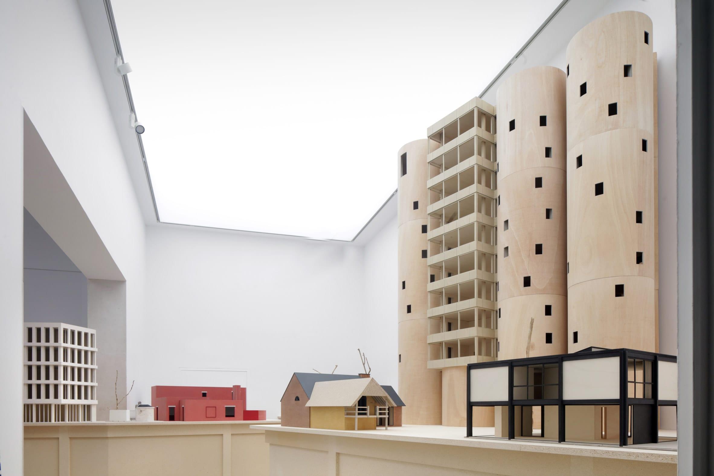 Large wooden models of Belgian houses