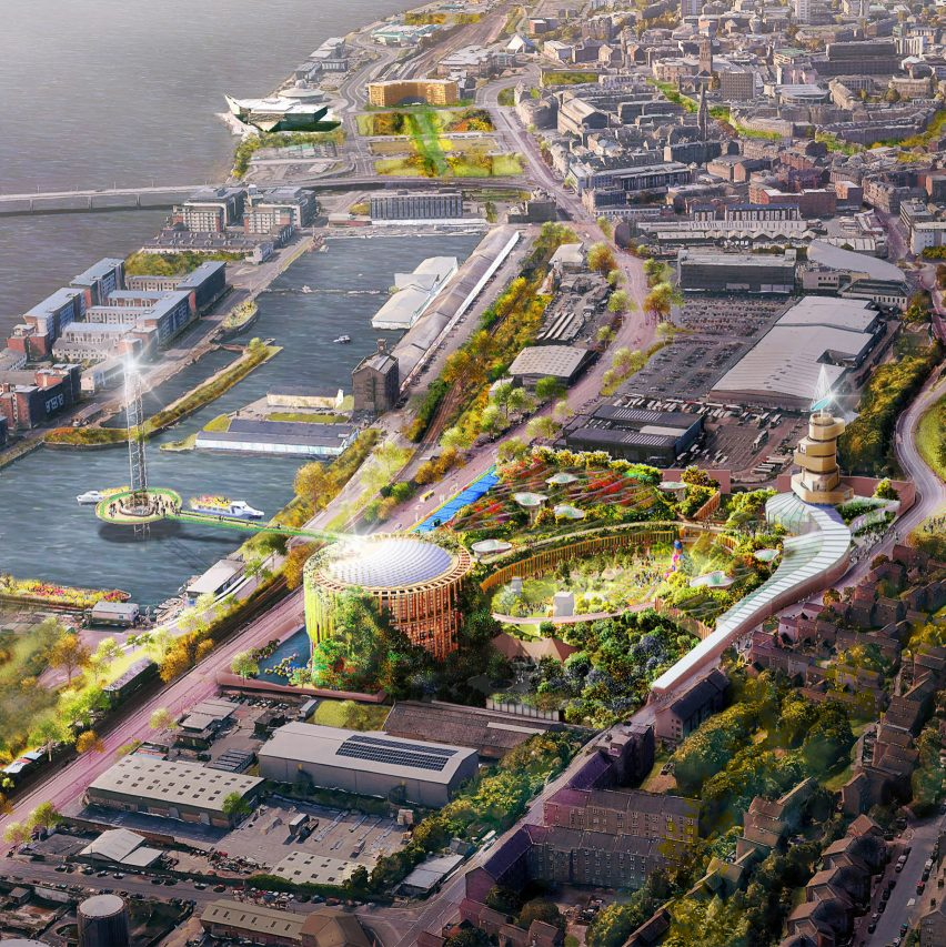 An aerial visual of Eden Project Dundee
