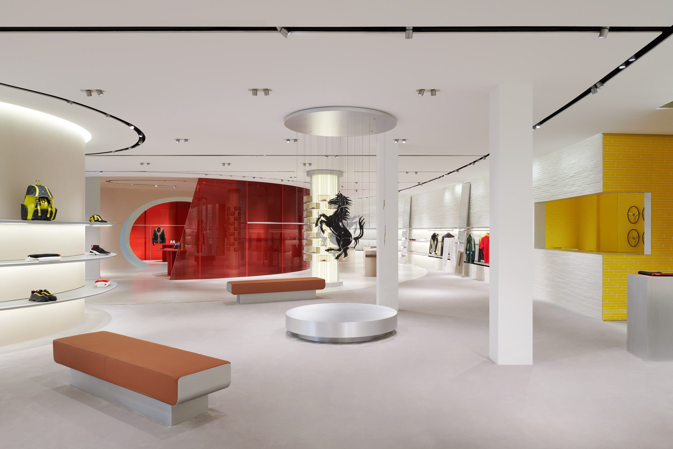 Display area of retail interior Sybarite with red and yellow walls
