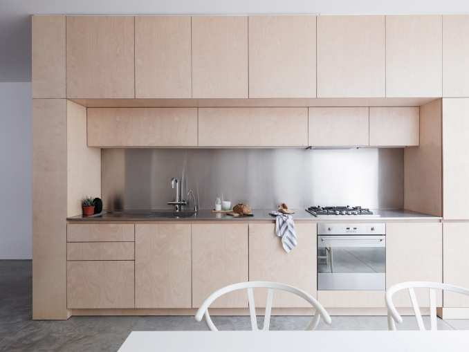 Larissa Johnston built the one-wall kitchen within a plywood unit