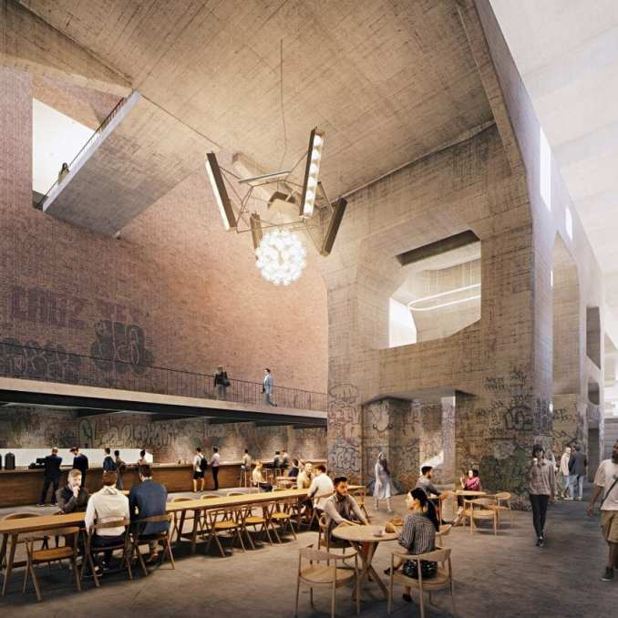 A cafe in a converted power plant by Herzog & de Meuron
