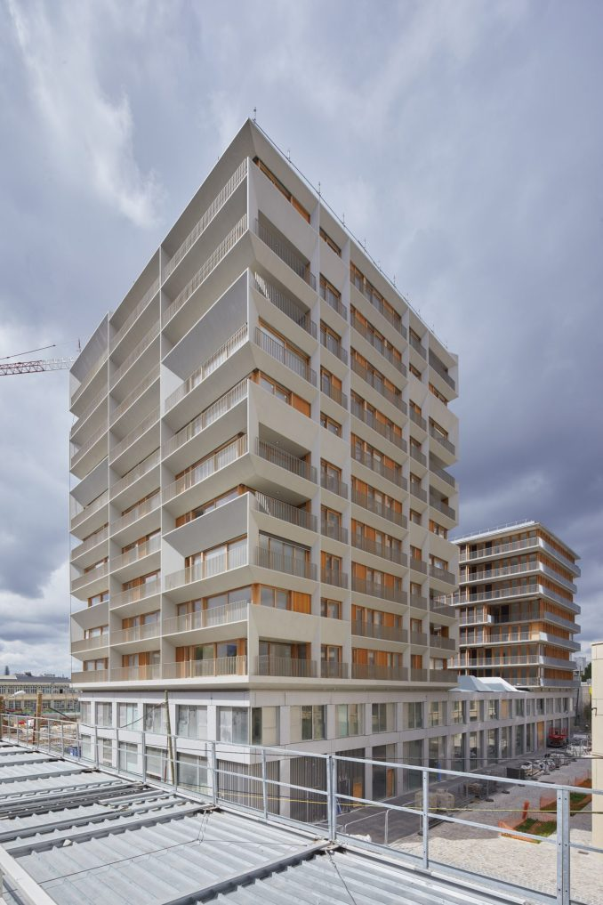 A concrete-clad apartment block in Paris