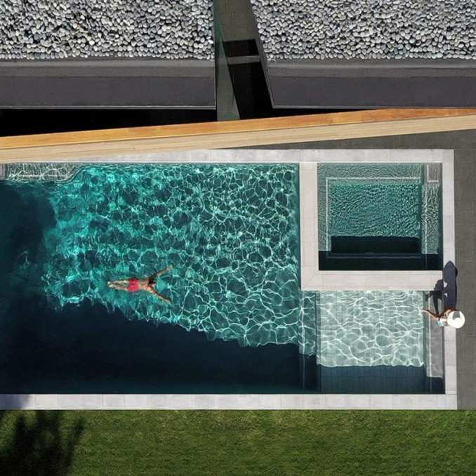 Swimming pool of Viewfinder House in Truckee, California, by Faulkner Architects