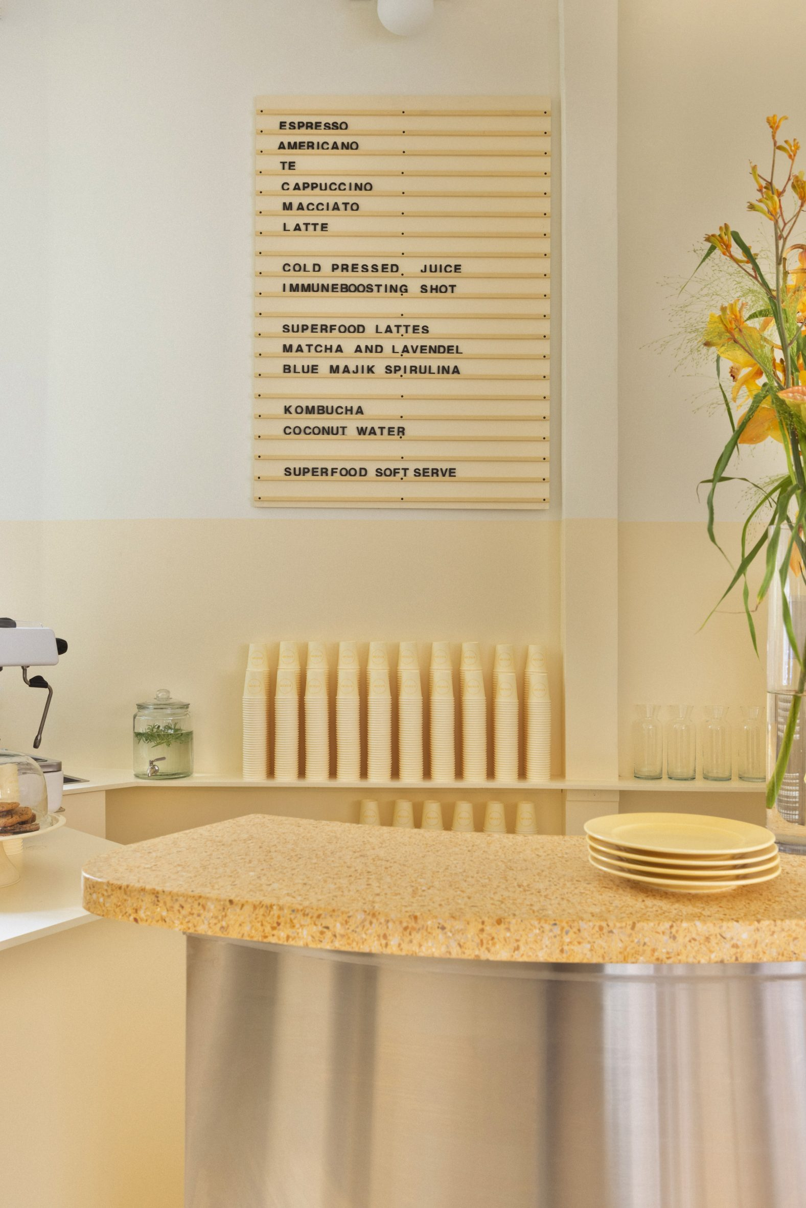 Yellow cafe counter
