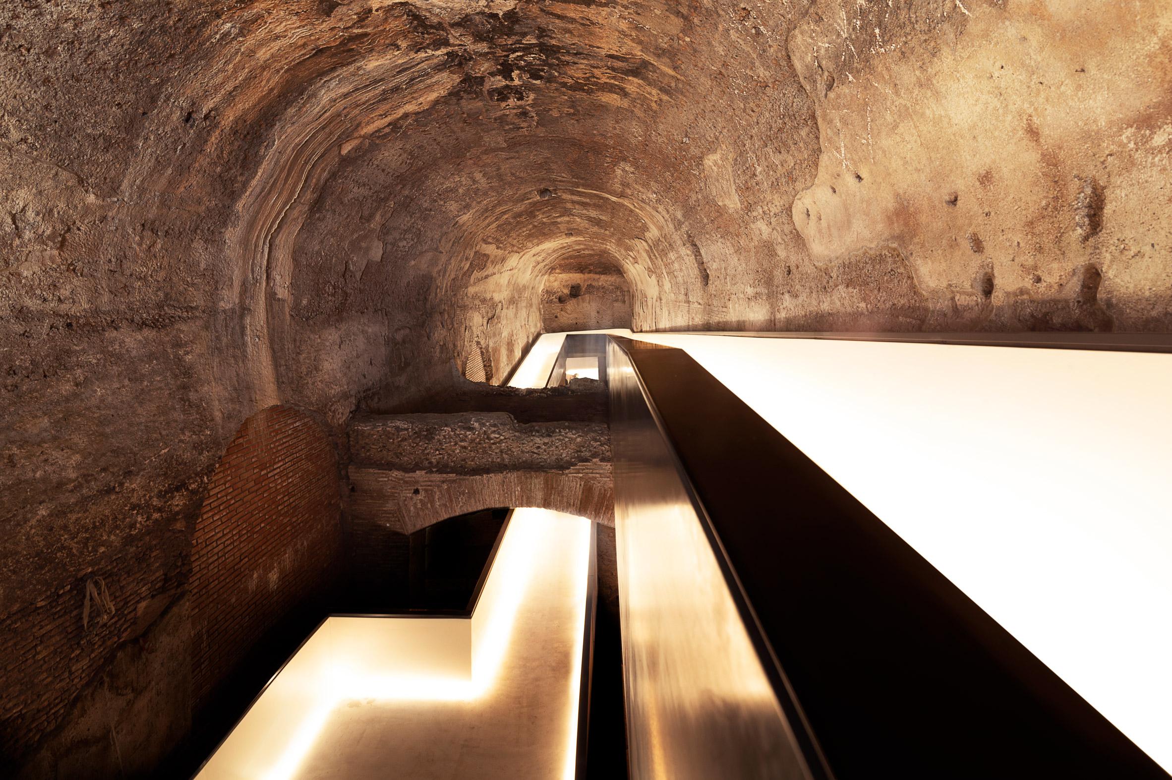 A walkway inside the Domus Aurea ruins