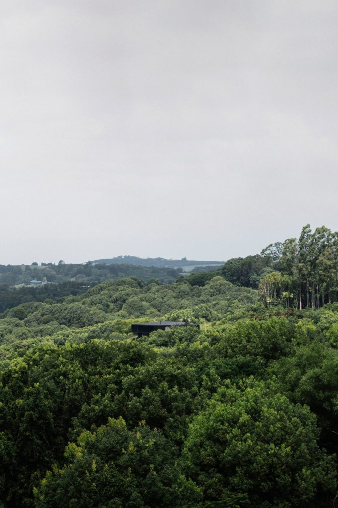 A forested landscape with a secluded house