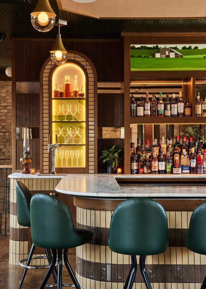 Upstairs bar with custom artworks