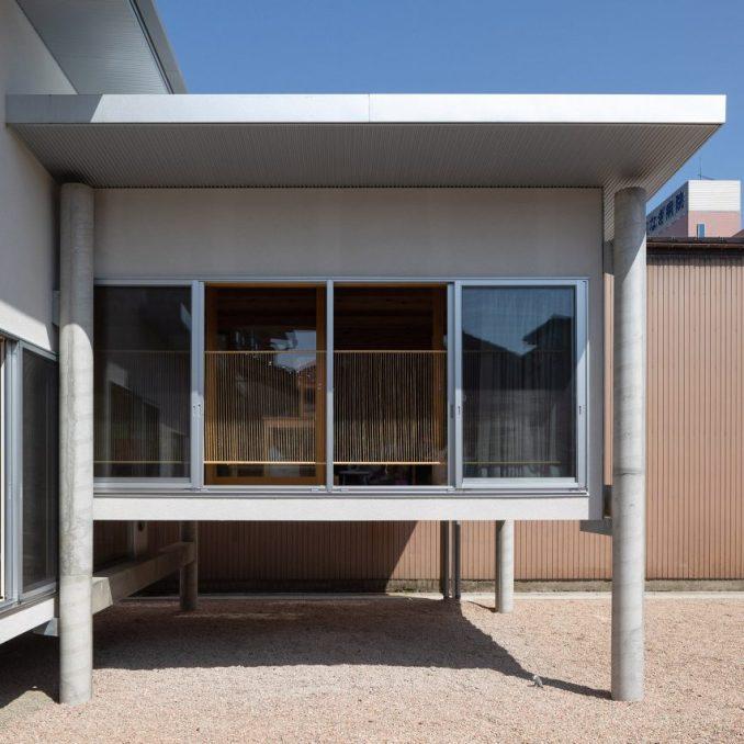 A Japanese house lifted on stilts