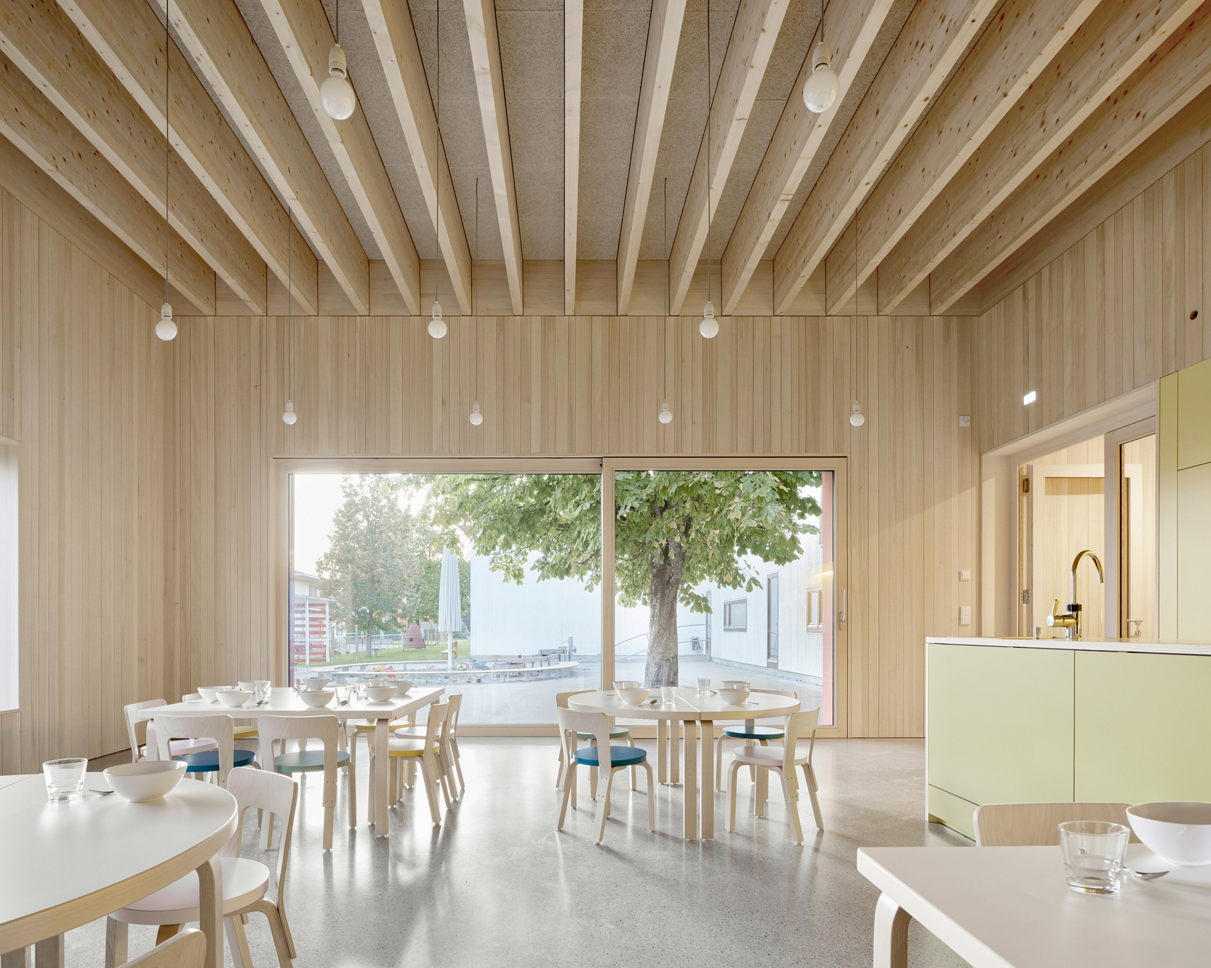 Timber dining room inside the kindergarten