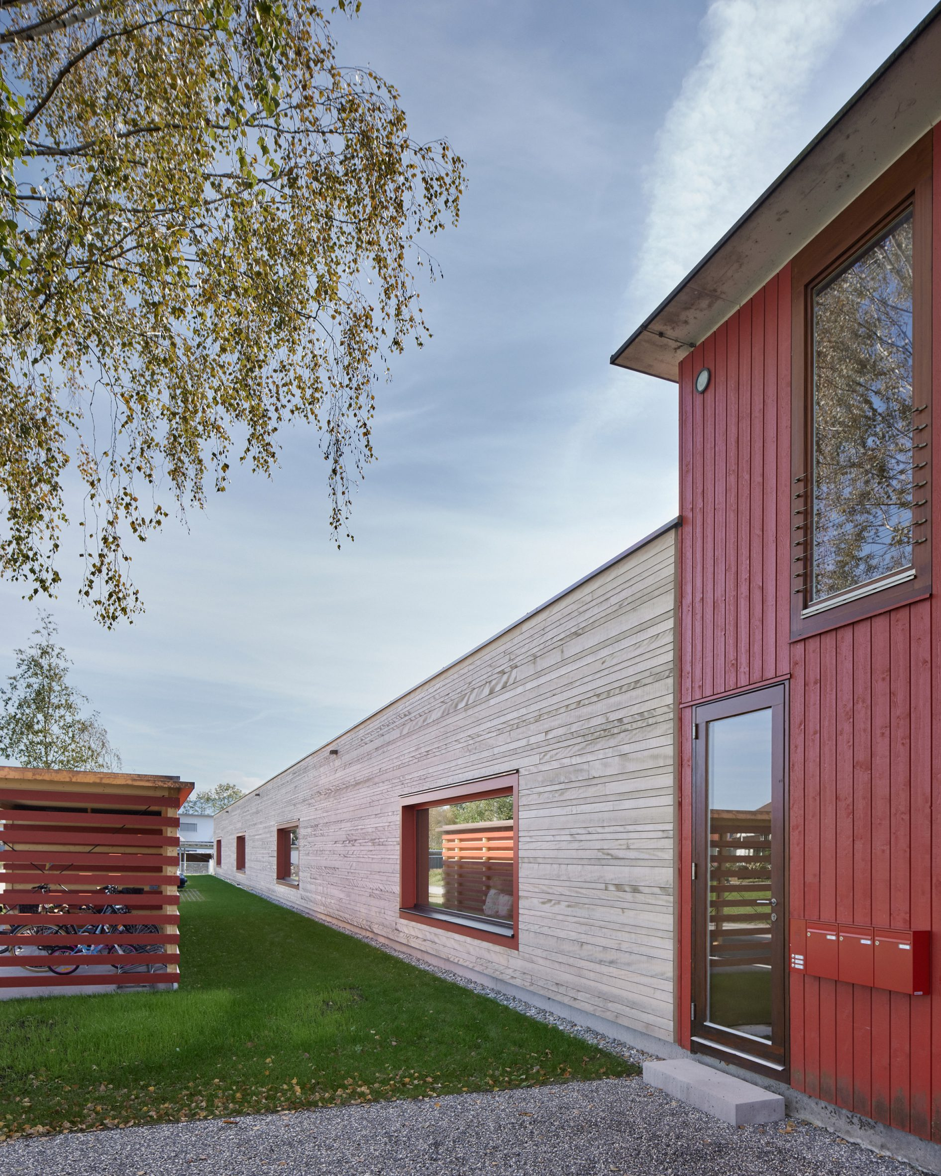 A red kindergarten with timber extension