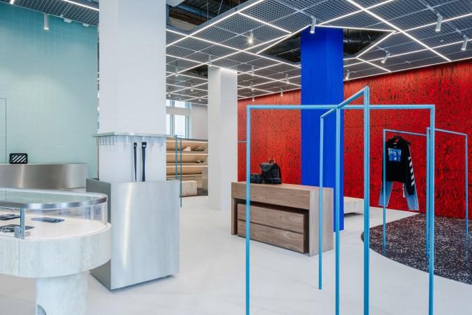 Blue clothes rails in Off-White Paris store