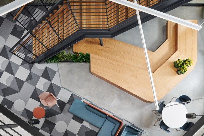 Perkins&Will designed the large metal staircase