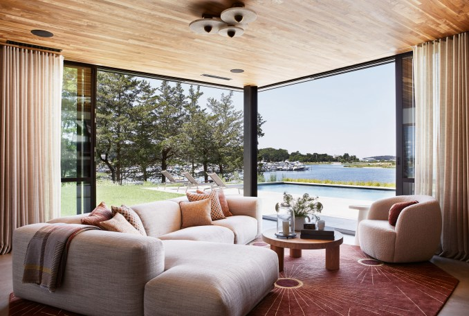 Living areas of house look out over Sag Harbor
