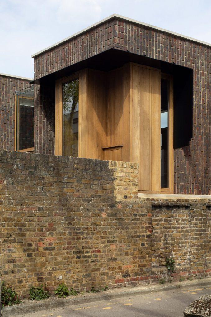 A close up of the brick wall and Southwark Brick House